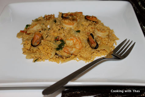 Easy shellfish couscous recipe cooking with thas for Can i eat fish everyday