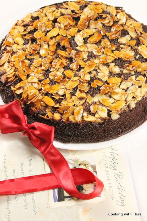 Chocolate almond upside down cake1