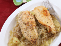 Cajun Chicken served on oyster noodles