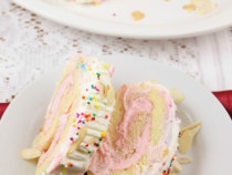 Strawberry and almond- swiss roll