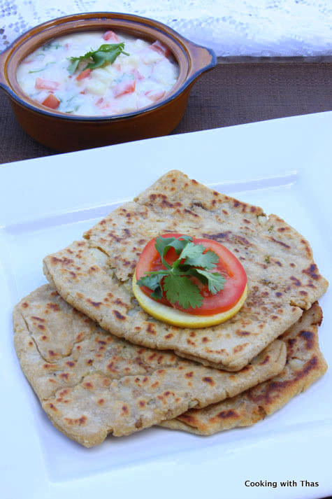 paratha rolls with curd and cutlets