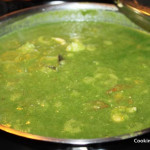 After adding cooked lentils and spinach puree