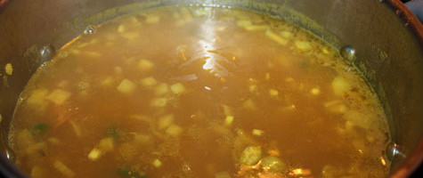After adding chicken stock