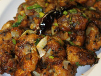 sesame cauliflower fritter stir fry