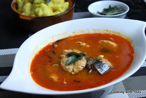 king fish mulagu curry or spicy fish curry