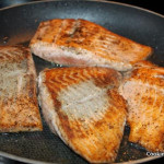 Pan frying salmon