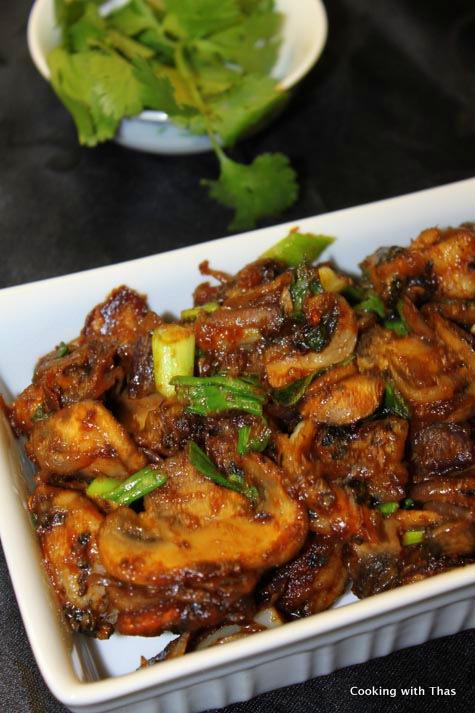shrimp-mushroom in peanut butter stir fry