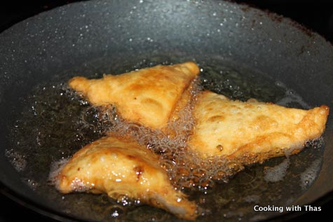 frying samosa