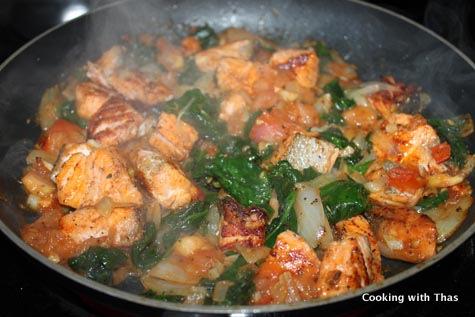 making-parmesan spinach salmon