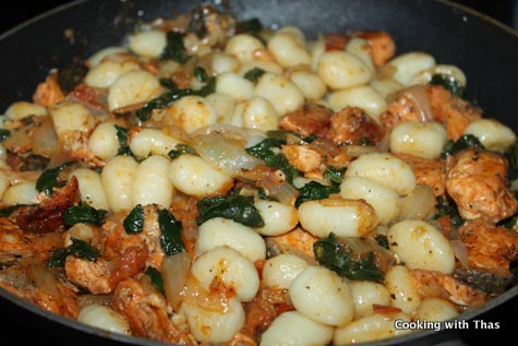 parmesan salmon with gnocchi