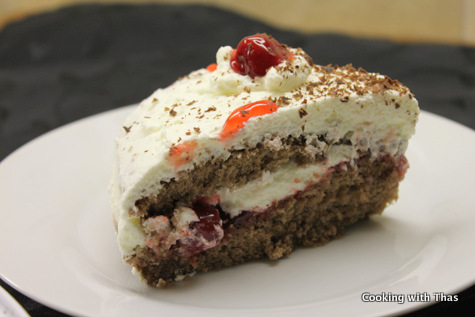 genoise cake-with cherry filling