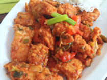 fish fritters-in tomato sauce