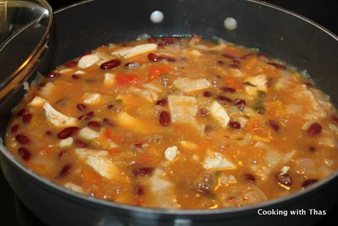 making tortilla soup