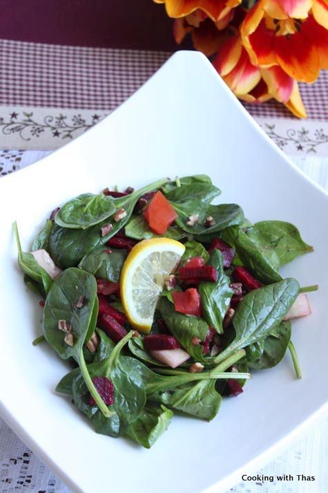 spinach-beetroot salad