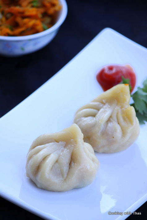 Vegetarian Momos Recipe - Steamed Veg Filled Dumplings | Cooking With ...
