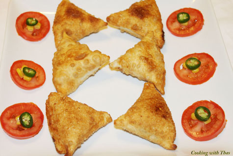 mixed veggie and cheese samosas