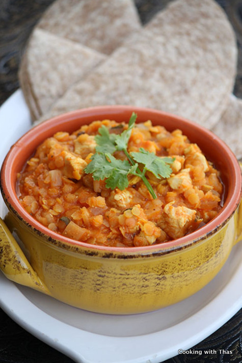 Protein rich chicken and red lentil curry…
