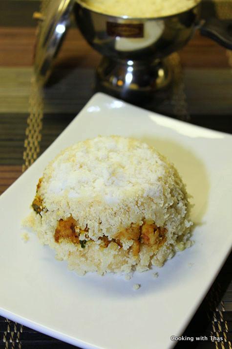 chicken stuffed semolina puttu