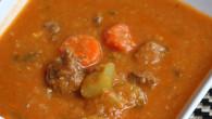 Beef-red lentil soup