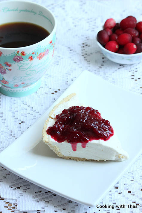 Tart with Cream cheese filling and Cranberry sauce
