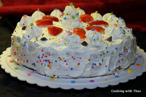 Chocolate Cake With Strawberry Filling And Whipped Cream ...