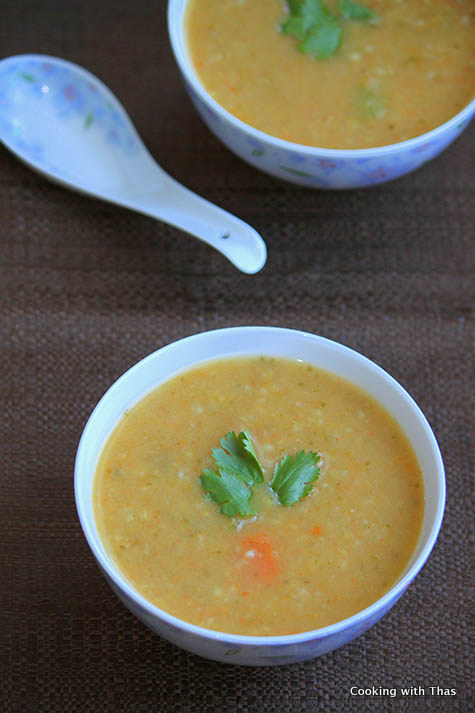 Vegetable and cracked wheat soup