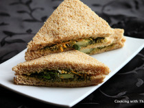 Pesto cucumber sandwich