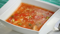 Chicken-tomato-egg drop soup