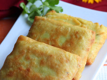 fried coconut crepe-with chicken filling