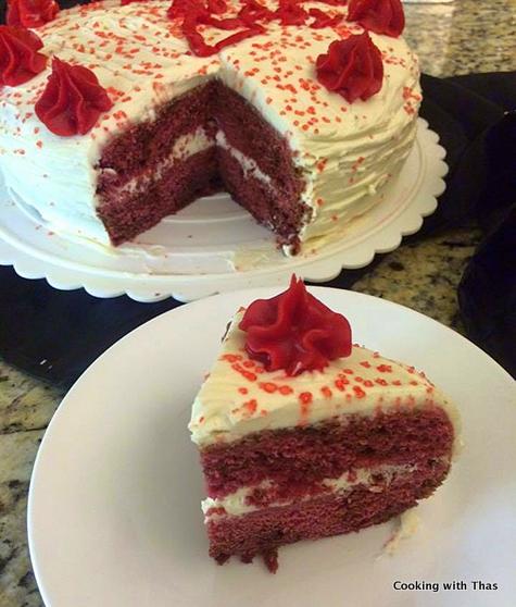 Red velvet cake with frosting