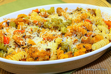 Baked Crsuted chicken pasta