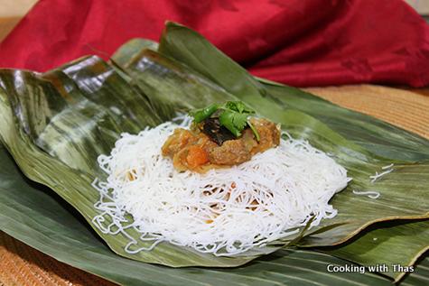 Beef-stuffed Idiyappam