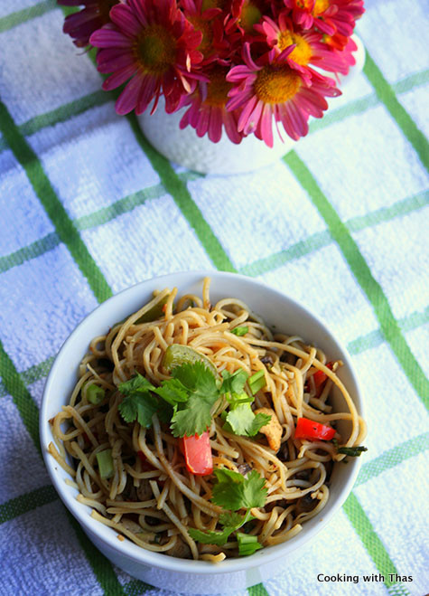 chicken-chow mein stir fry