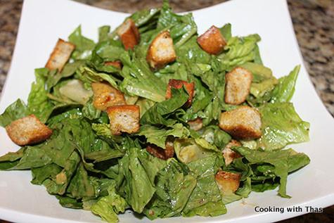 making caesar salad