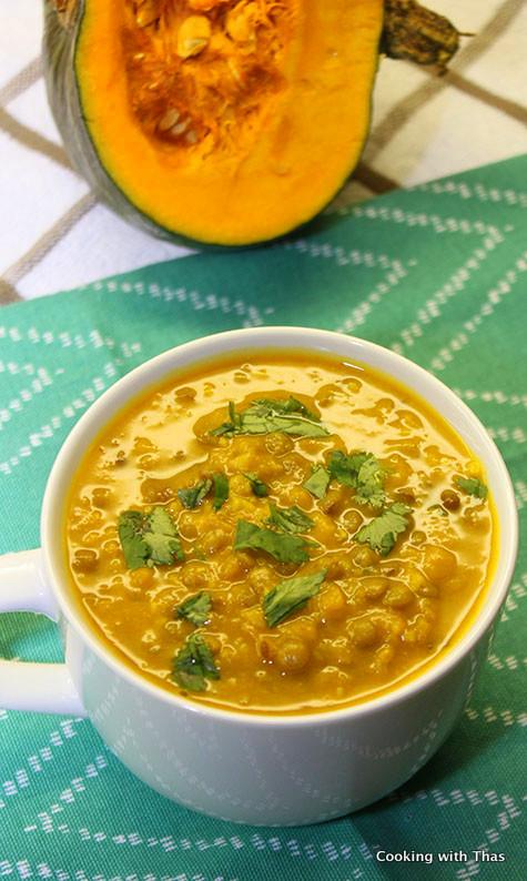 squash and green lentil soup