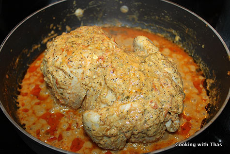 making-whole chicken-mughal style