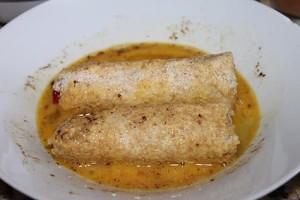 dip rolled bread in egg