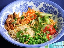 Asian rice bowl with soy chicken