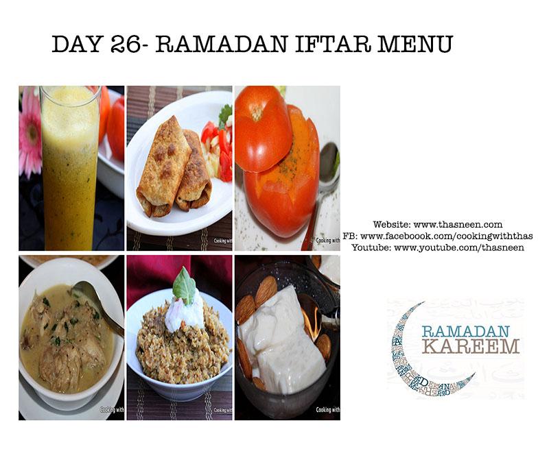 Day26 Ramadan Iftar Menu