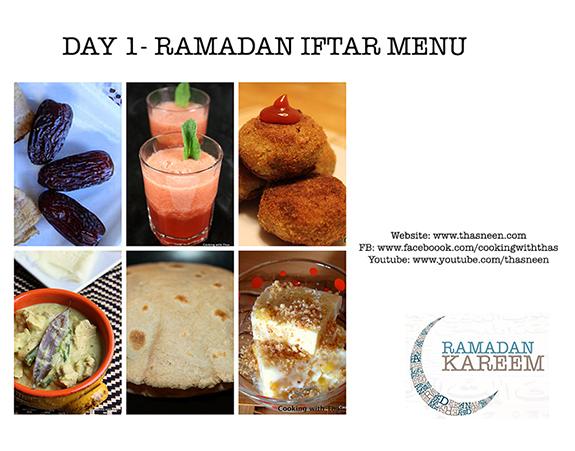 Ramadan Iftar Menu Day 1