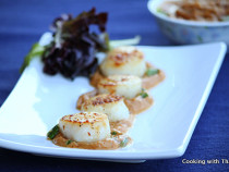 scallops-in peanut butter sauce