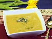 Asparagus- lentil soup