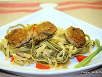 Basil Chicken Patties with Noodles