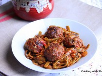 Baked beef balls and Spinach Spaghetti