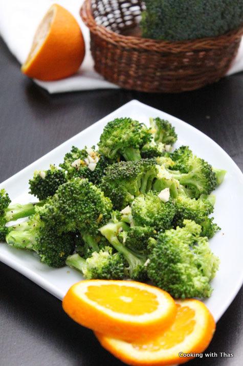 Orange Broccoli - 2 minutes Microwaved Recipe
