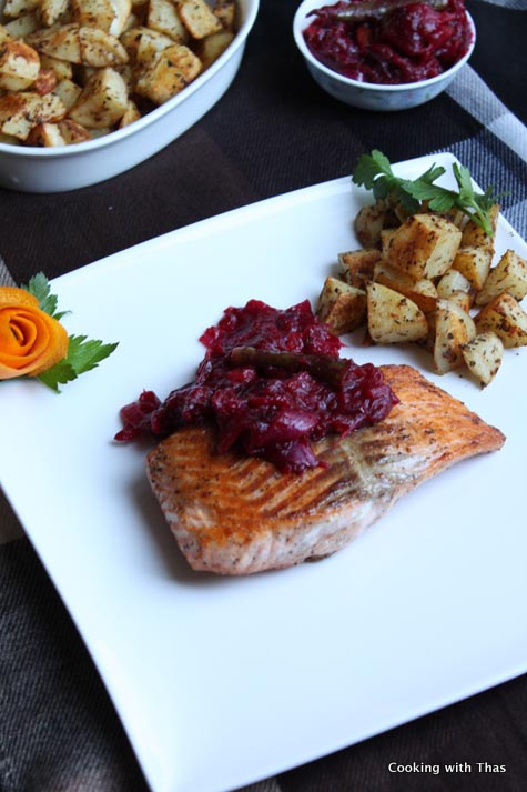 salmon with cranberry chutney