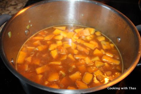 cooking-squash lentil soup