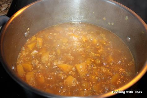 making-squash-lentil soup