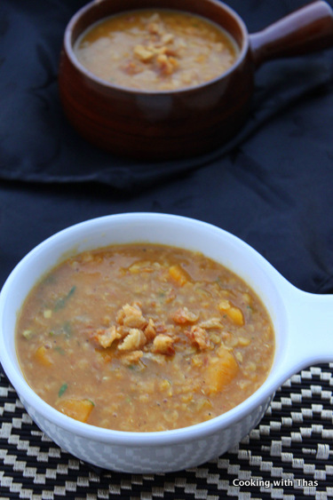 squash-lentil soup