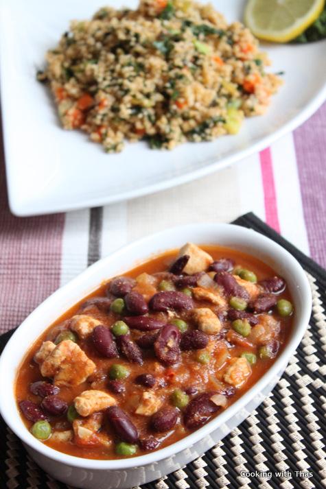 kidney beans, peas-chicken stew